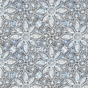 Rustic white Dahlia lace on grey