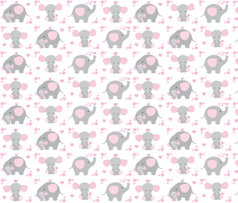 Elephant Pink Floral Girl Nursery  fabric by decamp_studios on Spoonflower - custom fabric