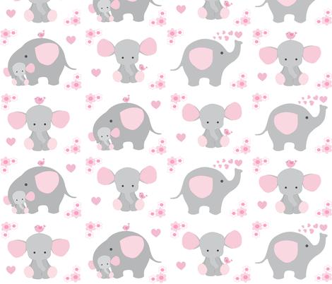 Elephant nursery pink girl fabric decamp studios for Pink nursery fabric