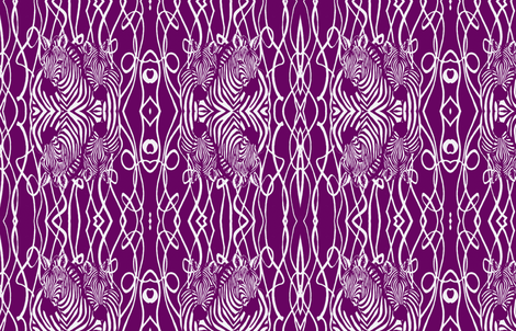 African Zebra design in white and magenta abstract background fabric by lazella_rosetta on Spoonflower - custom fabric