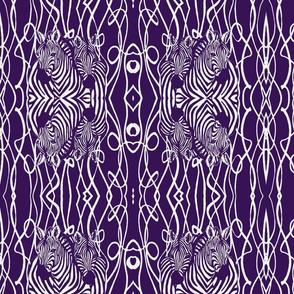 African Zebra design in white and purple stripes