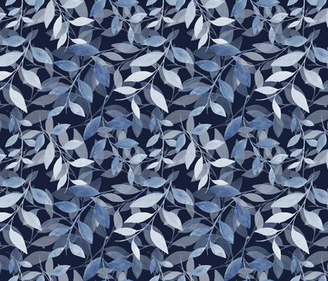 Transparent Leaf scatter - navy fabric by jenuine_designs on Spoonflower - custom fabric