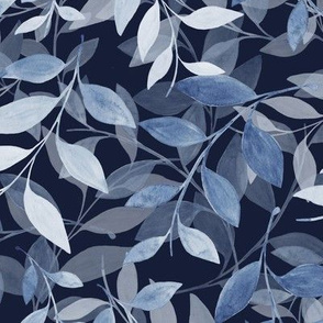 Transparent Leaf scatter - navy