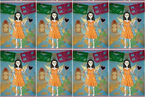 calaca earth prayer fabric by lamasmadre on Spoonflower - custom fabric