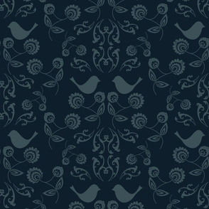 Bird Wallpaper with Navy Back