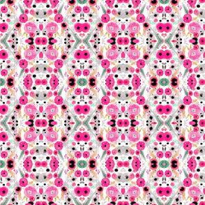 pink and gray floral repeat pattern