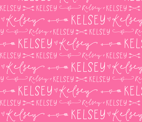 Girls Personalized Name Fabric // Pink and White - Kelsey fabric by heatherhightdesign on Spoonflower - custom fabric