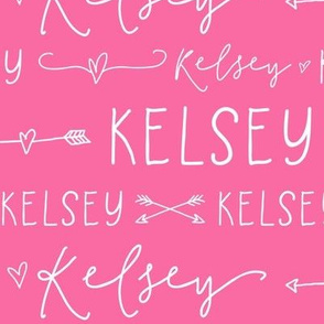 Girls Personalized Name Fabric // Pink and White - Kelsey