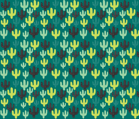 Cactus in Cool Colors fabric by artgirlangi on Spoonflower - custom fabric