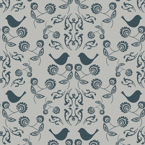 Bird Wallpaper with Warm Grey Back
