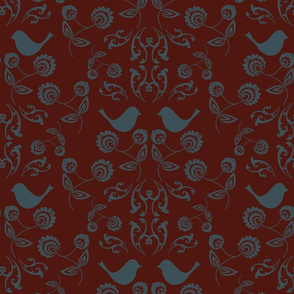 Bird Wallpaper with Deep Crimson Back