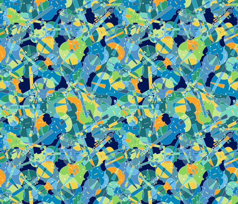 Scattered violins, violas, cellos in blues, greens and yellows (version 2) fabric by jani_na on Spoonflower - custom fabric