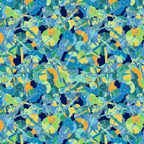 Scattered violins, violas, cellos in blues, greens and yellows (version 2)