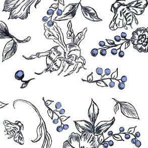 flower_bees-periwinkle berries blue