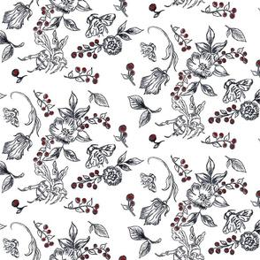 flowerbees-red berries