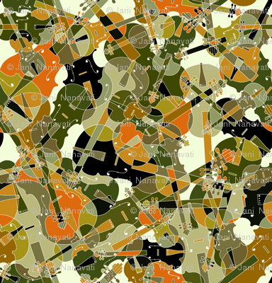 scattered violins, violas, cellos in brown, olive and black