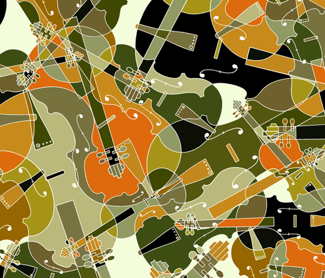 scattered violins, violas, cellos in brown, olive and black fabric by jani_na on Spoonflower - custom fabric
