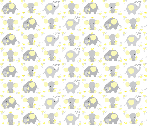 Elephant Nursery Yellow Neutral fabric by decamp_studios on Spoonflower - custom fabric