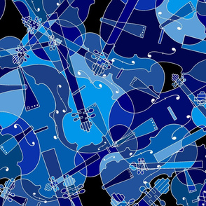 Scattered violins, violas, cellos in blue
