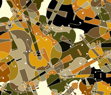 scattered violins, violas, cellos in brown, beige, olive and black fabric by jani_na on Spoonflower - custom fabric