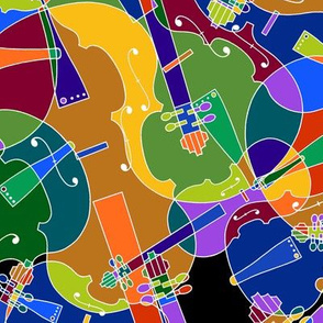 scattered violins, violas, cellos in rainbow colors