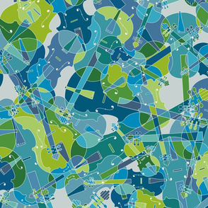 scattered violins in blue, green and grey