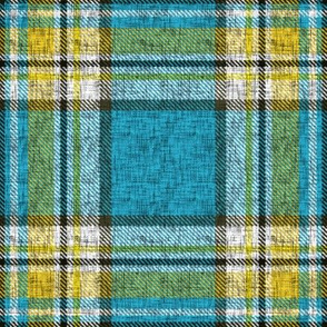 Distressed blue + yellow Stewart plaid by Su_G