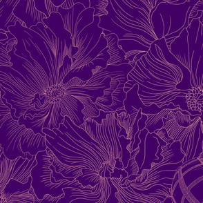 A field of beauty and death in purple tones