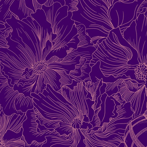A field of beauty and death in thick purple tones