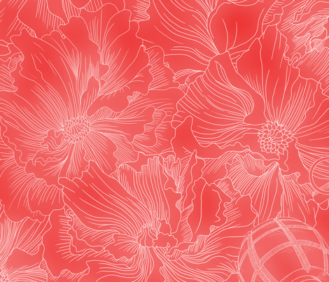 A field of beauty and death in white and red fabric by cynthiahoekstra on Spoonflower - custom fabric