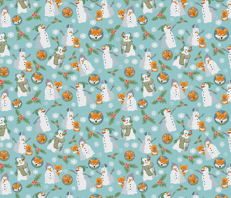 snowmen and friends fabric by bymaria on Spoonflower - custom fabric