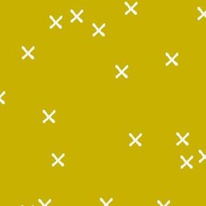 Basic geometric raw brush crosses pattern mustard yellow LARGE