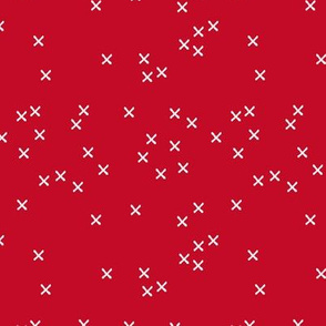 Basic geometric raw brush crosses pattern red SMALL