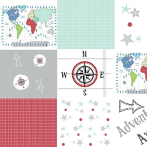 Adventures Await 42- gray - wholecloth quilt