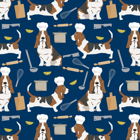 basset hounds chefs themed cooking dog breed fabric navy fabric by petfriendly on Spoonflower - custom fabric