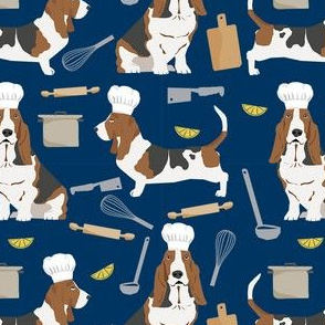 basset hounds chefs themed cooking dog breed fabric navy