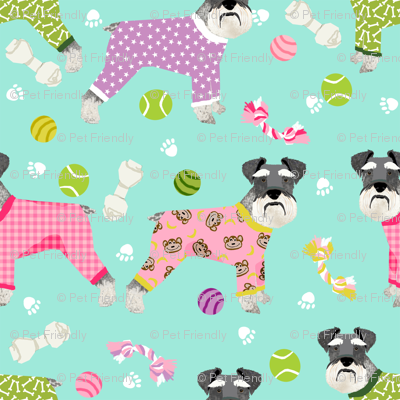 schnauzers in jammies (Large) fabric cute dogs in pajamas pyjamas fabric - mint