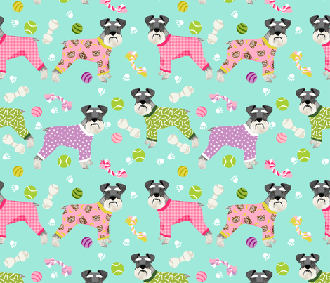 schnauzers in jammies (Large) fabric cute dogs in pajamas pyjamas fabric - mint fabric by petfriendly on Spoonflower - custom fabric