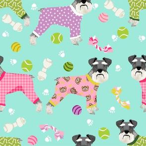 schnauzers in jammies (Large) fabric cute dogs in pajamas pyjamas fabric - mint