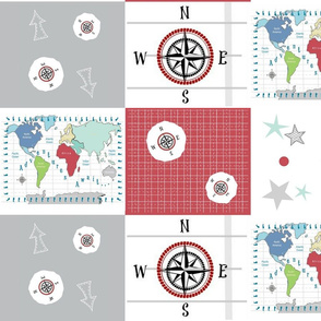 world map red -42 MED 21  wholecloth quilt