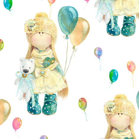 MEDIUM WATERCOLOR DOLL AND BALLOONS ON WHITE fabric by floweryhat on Spoonflower - custom fabric