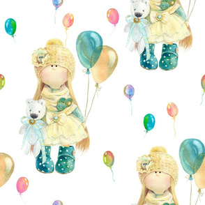LARGE WATERCOLOR DOLL AND BALLOONS ON WHITE by FLOWERYHAT