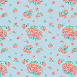 Rose repeat on powder blue