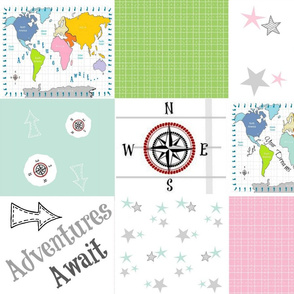 Adventures Await 42- gray pink - wholecloth quilt