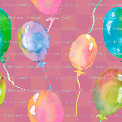 WATERCOLOR BALLONS PATTERN RASPBERRY PINK GINGHAM