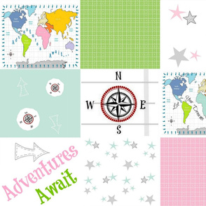 Adventures Await 42-  pink green- wholecloth quilt 2