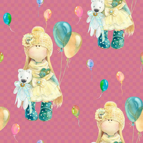 LARGE WATERCOLOR DOLL AND BALLOONS ON RASPBERRY PINK  GINGHAM