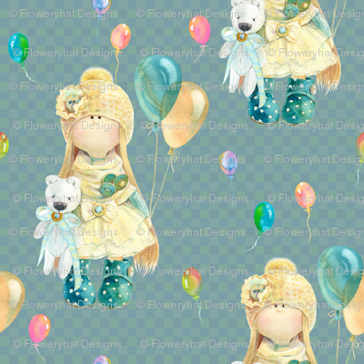 medium WATERCOLOR DOLL AND BALLOONS ON PETROLEUM BLUE GREEN on gingham