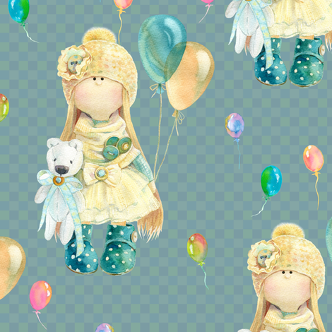 medium WATERCOLOR DOLL AND BALLOONS ON PETROLEUM BLUE GREEN on gingham fabric by floweryhat on Spoonflower - custom fabric