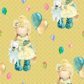 LARGE WATERCOLOR DOLL AND BALLOONS ON MUSTARD YELLOW GINGHAM
